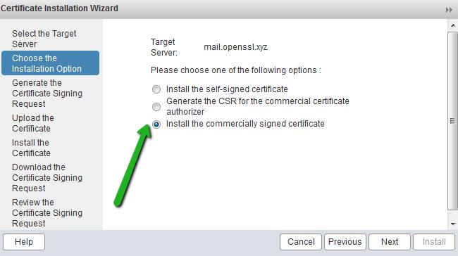 SSL Installation Option