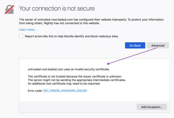 Firefox 66 cảnh báo SSL rõ ràng hơn (SEC_ERROR_UNKNOWN_ISSUER)