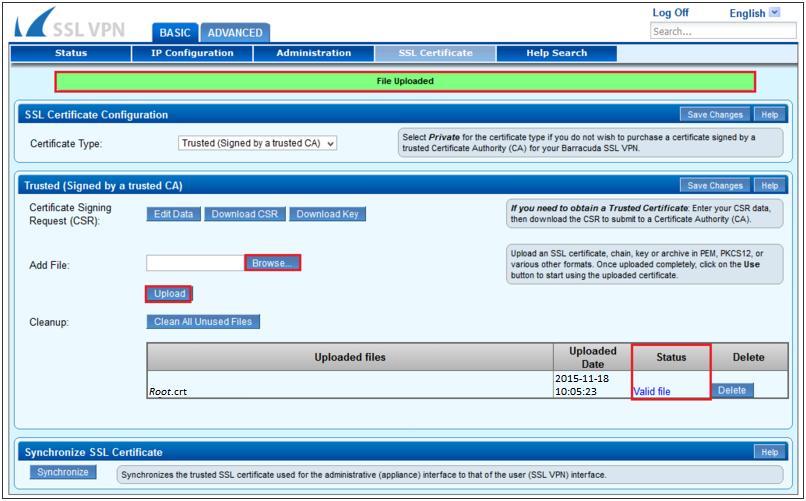 Cài đặt chứng chỉ số SSL - Barracuda SSL VPN