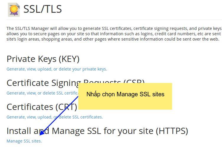 Cpanel 11: Cài đặt giấy chứng nhận chứng chỉ số SSL