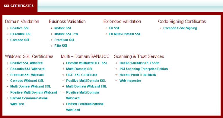 Tìm hiểu thêm về các loại SSL - chứng chỉ số - của Comodo