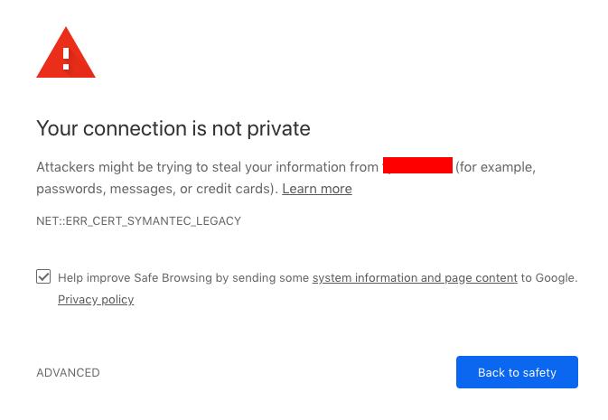 Lỗi SSL Chrome 70: NET::ERR_CERT_SYMANTEC_LEGACY